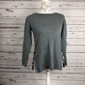 Madewell Sweater Crop Ribbed Button Slits Spacedye